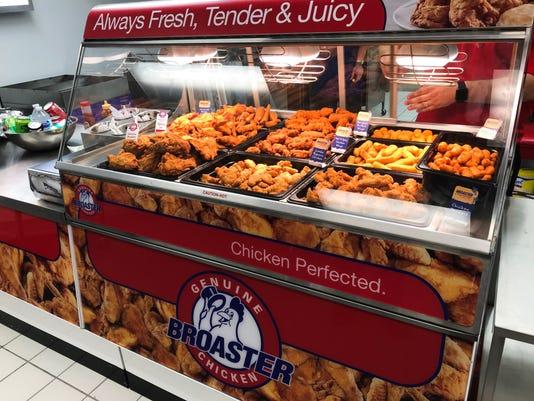 Genuine Broaster Chicken Food display
