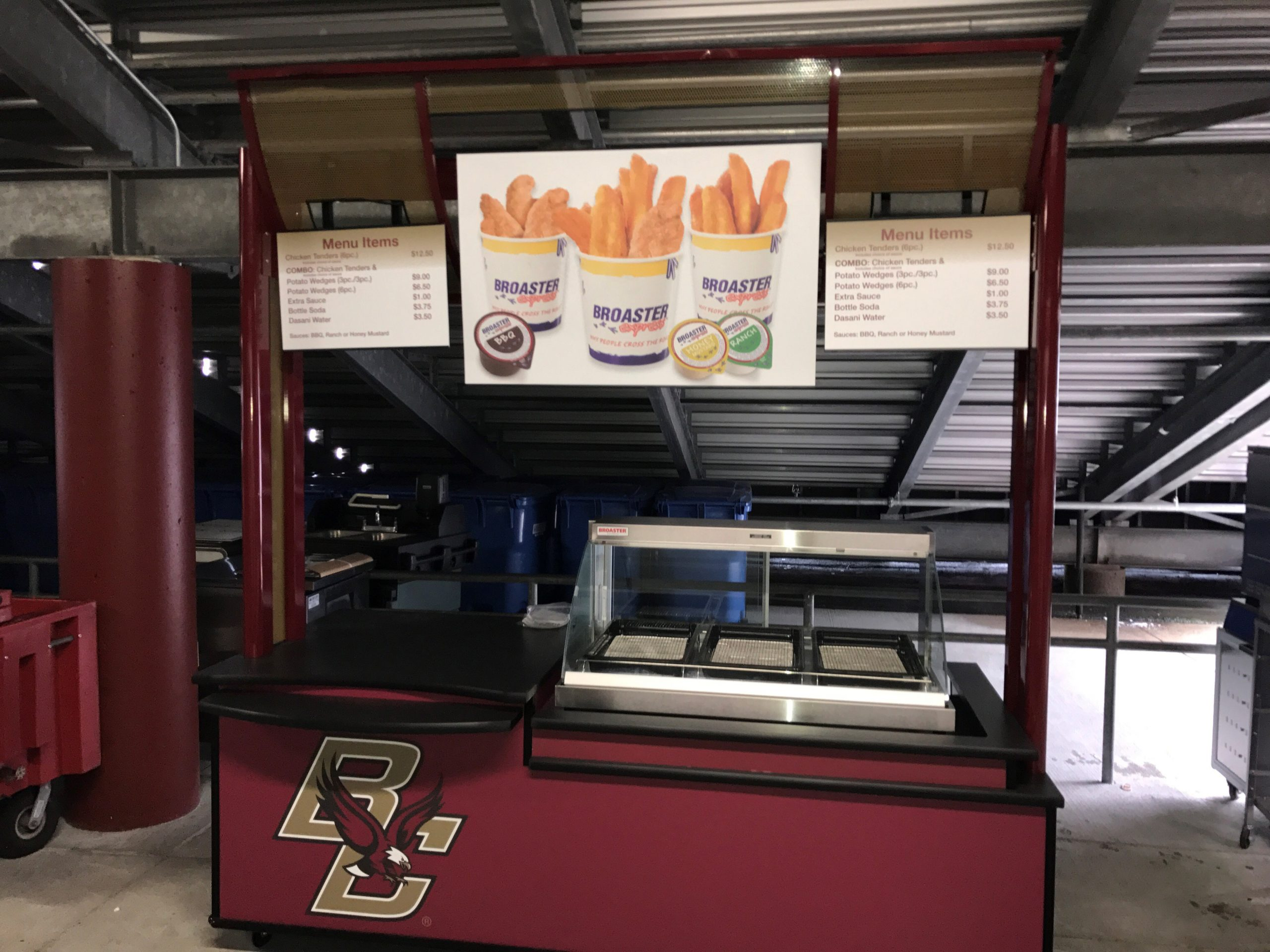 Boston College Food options from Broaster