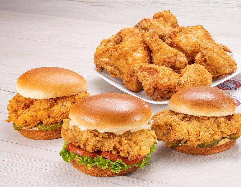 Broaster chicken options, sandwiches, bone-in dinner options